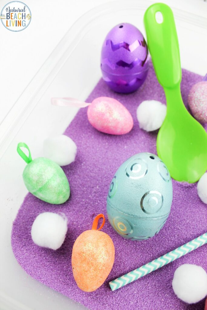 This Easy Spring Sensory Bin is a lot of fun for toddlers and Preschoolers. It's a great spring activity for kids to use their senses to explore and learn. It only takes a few simple supplies to set up this sensory activity for spring.