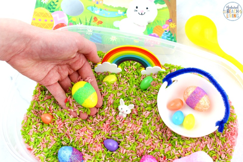This Bunny Sensory Bin is a fun Spring Sensory Activity for toddlers and preschoolers. Gather up a few simple supplies for cute Spring Book Activities with Sensory play and your kids will be exploring and learning all season long.