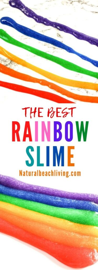 This Rainbow Slime is so much fun to make! This Rainbow Slime Recipe with Contact Solution is bright, stretchy, and amazing. Your child is going to love playing with this Easy Slime Recipe. Make this slime for a fun spring or summer activity or a unicorn or rainbow theme birthday party. It's Perfect!