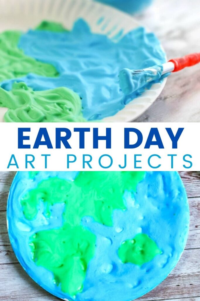This Earth Day Paper Plate Craft with free Earth Template is a fun way to let your child make and visualize the Earth! Plus, it's a fun sensory activity, too! Earth Day Puffy Paint Art is a great activity and makes a perfect Earth Day Idea for Kids.
