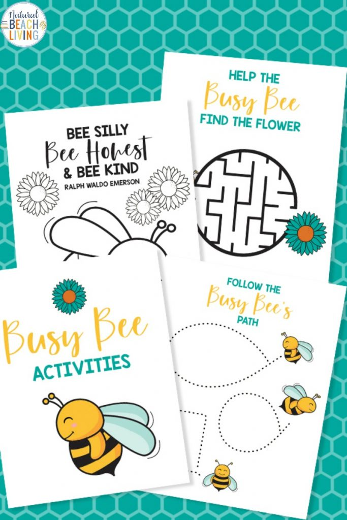 These Preschool Bee Printables are a fun way to learn about bees. They help your child be creative and are also educational. These Free Bee Coloring Pages and Printable Activities for Kids are perfect for toddlers, preschoolers, and Kindergarten. Add these to your Bee Theme
