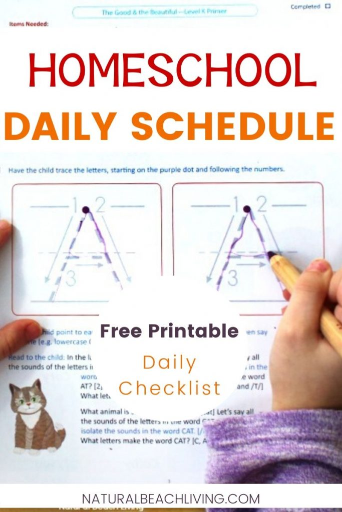 Check out this simple Homeschool Daily Schedule. If you're new to homeschooling and are needing a starting point, or looking for a Homeschool daily checklist this is certain to help. Get tips for creating a daily plan that inspires you to get things done and feel good about it.