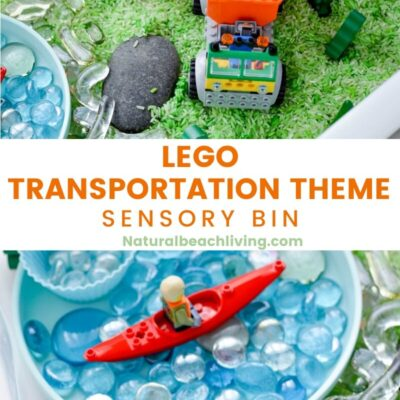 Lego Transportation Theme Sensory Bin for Preschoolers
