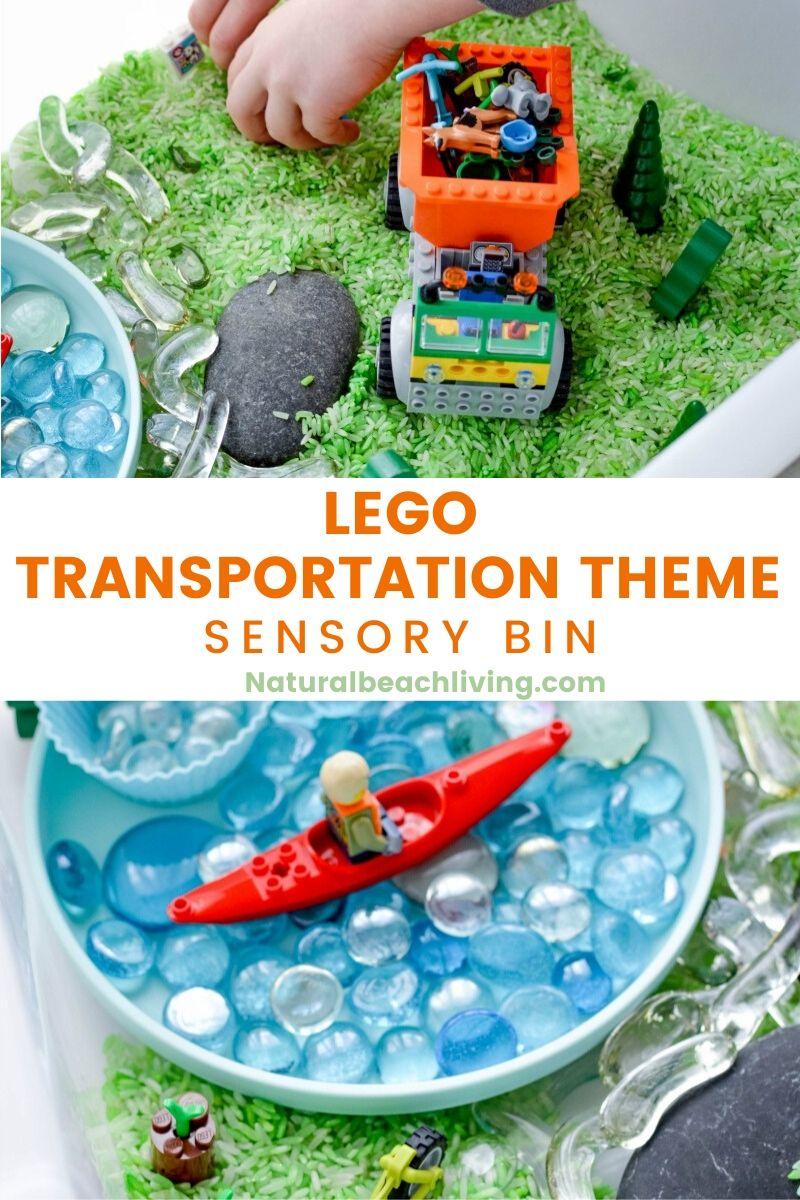 Lego Transportation Theme Sensory Bin for Preschoolers