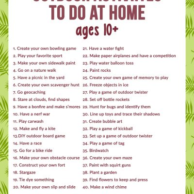 Outdoor Activities to Do at Home for Pre Teens and Teens
