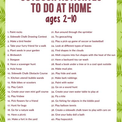 40+ Outdoor Activities to Do at Home for Kids age 2-10 – Free Outdoor Activities Checklist