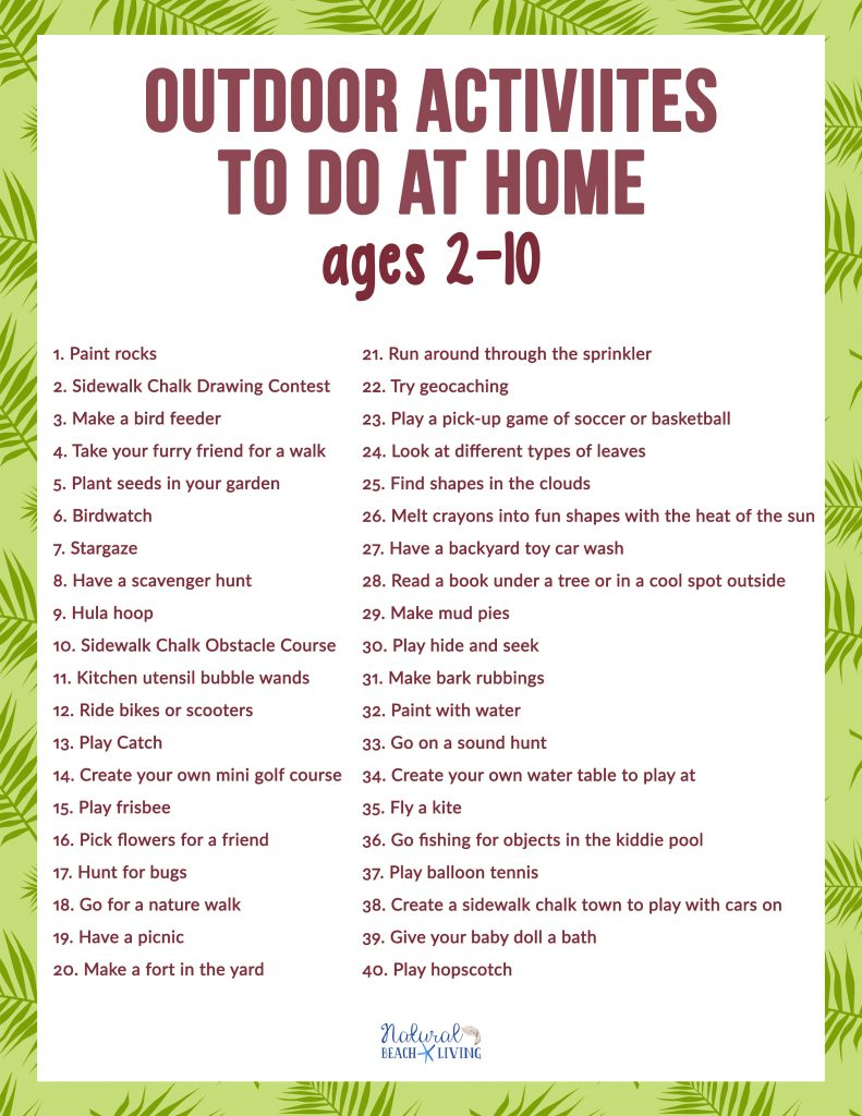 Gear up for some Fun Outdoor Activities to Do at Home with kids age 2-10. These ideas and activities are great for Fun Things to do in Your Backyard. They will keep your kids busy and having so much fun for free. Backyard Activities for Kids with a Free Printable Checklist.