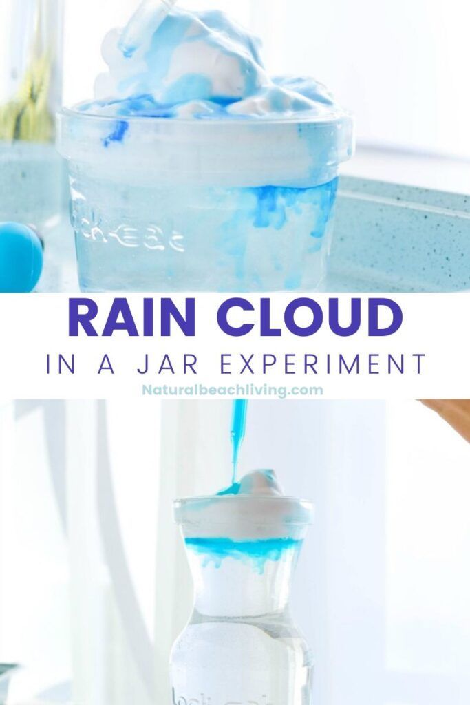 This Rain Cloud in a Jar Experiment is such a simple science experiment and Making a rain cloud in a jar is a fun and easy way to teach children how it rains. Only a few supplies are needed for this weather activity for kids.