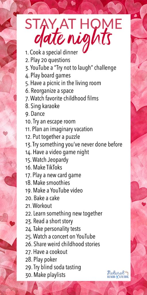 These Date Night Ideas at Home will give you so many fun things to do with your partner. You'll get over 30 fun date ideas to do in your home or backyard. Try something new with these stay at home date night ideas and Creative Date Night Ideas that can be romantic too.