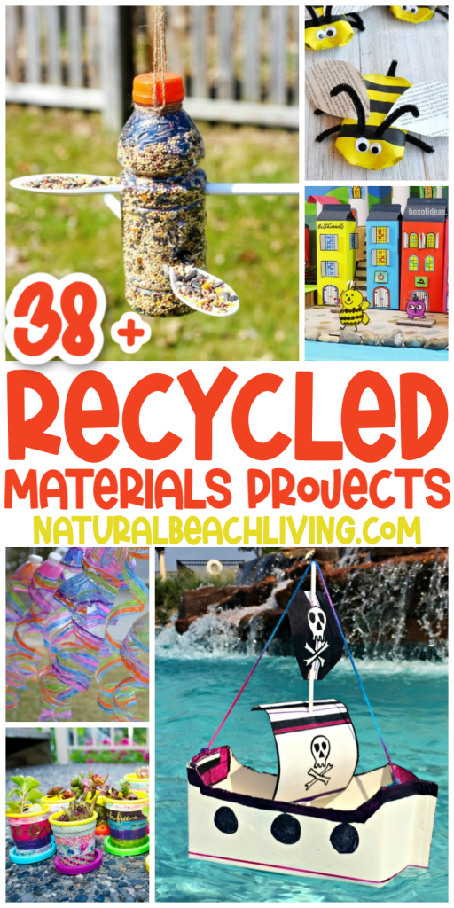 38+ Recycled Materials Projects for kids using items you already have in your home. You'll find loads of fun ways to reuse toilet paper rolls, plastic bottles, bottle caps, cardboard boxes, and so much more with Recycled Crafts for Kids and DIY STEM Projects.