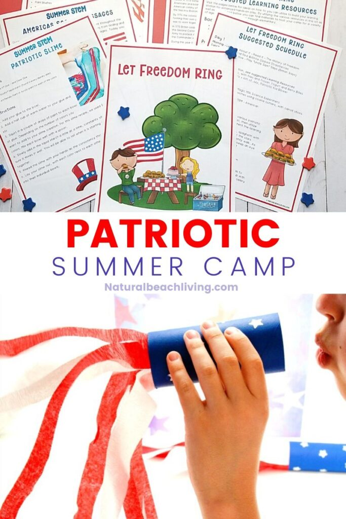 This Patriotic Summer Camp is perfect for kids. Over 25 Patriotic Activities and Crafts for Kids. Use This Summer Camp at Home Guide to make memories all summer long with Patriotic Games, 4th of July STEM and Science activities, red, white, and blue ideas and so much more.