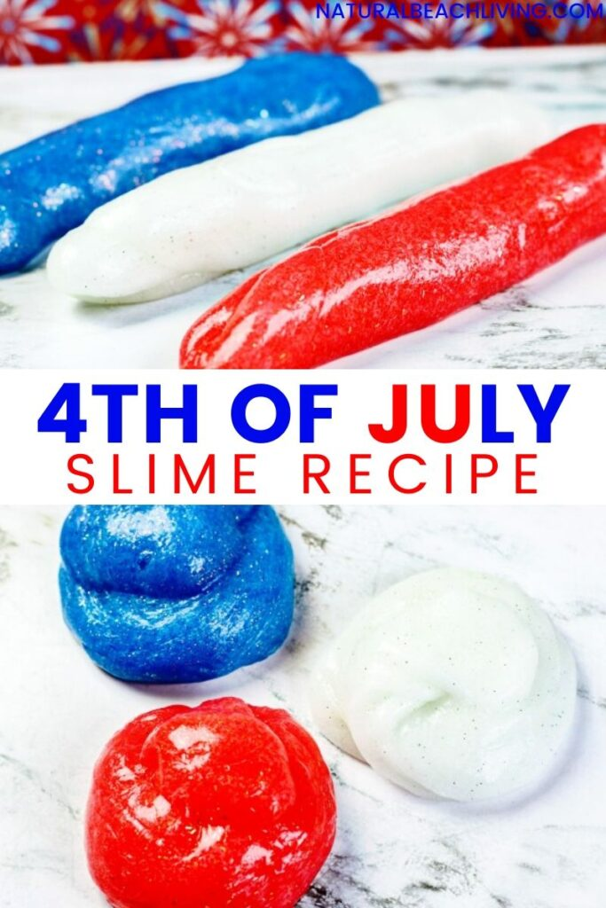 The Best 4th of July Slime Recipe! This red, white, and blue slime is a great patriotic slime to make and play with for the 4th of July, Memorial Day, or any other patriotic holiday. This easy slime recipe mixes science, chemistry, sensory play and hands on learning into one awesome fourth of July activity.