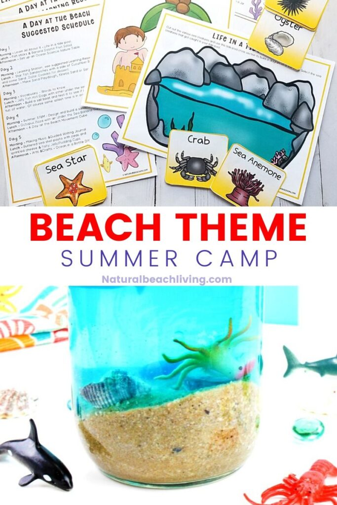 This Beach Theme Summer Camp is perfect for lots of Summer Fun. Over 25 Beach Activities and Crafts for Kids. Plus, ocean books, snacks, and sensory play. These Summer Camp at Home ideas will be great all summer long with Ocean Animals Activities, Beach STEM and Science activities, Ocean Theme ideas and so much more.
