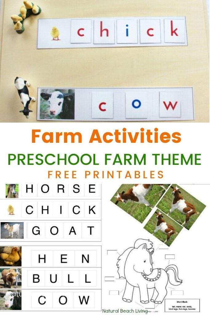 Montessori Farm Activities for Preschool and Kindergarten, These are Fun Hands on activities for a Farm Theme Unit Study, Farm Animal Spelling words for Early Elementary, Montessori Movable Alphabet, Hands on Learning, Free Preschool Farm Theme Printables