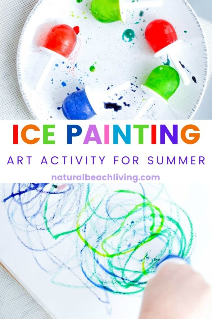 This Ice Cube Painting is so much fun for kids and only takes 2 ingredients. You're going to love watching the kids be creative with their Rainbow Ice Paint. A Summer Art Activity and sensory idea perfect for toddlers and preschoolers