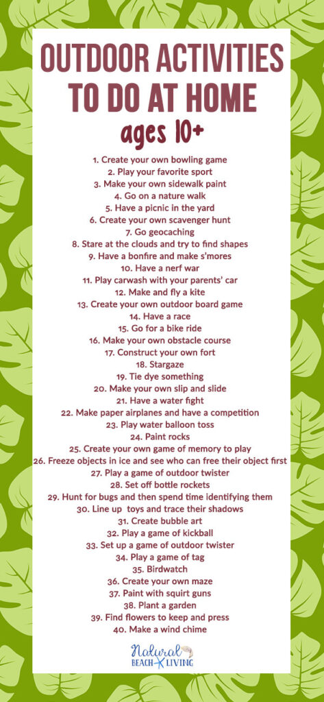 Here are over 40 Fun Outdoor Activities to Do at Home for Pre Teens and Teens. These Fun Things to do Outside in your Backyard will have your kids enjoying nature and playing without dealing with screentime. Find Great Backyard Activities for Kids of all ages.