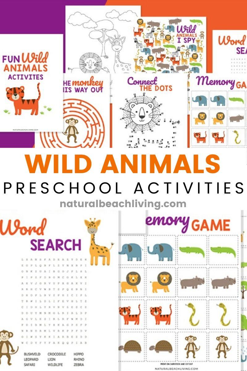 Wild Animals Printables for Preschool and Kindergarten