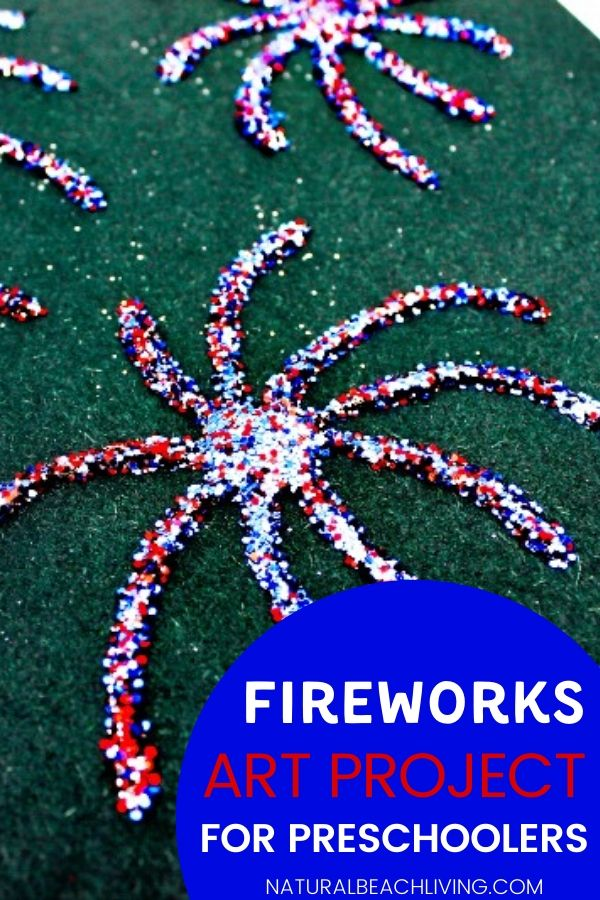 The kids are going to love this Fireworks Art Project! With just a few simple supplies kids can create an easy fireworks painting idea for toddlers, preschoolers, and children of all ages. This fireworks craft for preschoolers is perfect for a 4th of July craft or Memorial Day art project!  Have fun and enjoy patriotic fun.