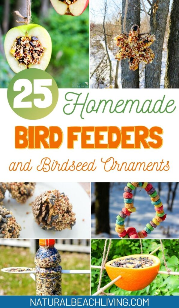 The BEST Homemade Bird Feeders and Birdseed Ornaments,  These DIY Birdseed Ornaments are a perfect nature project to do with kids, Backyard Birds love Recycled Bird Feeders and Bird Treats, Plus, Bird Crafts for Kids, Bird Theme Printables and more