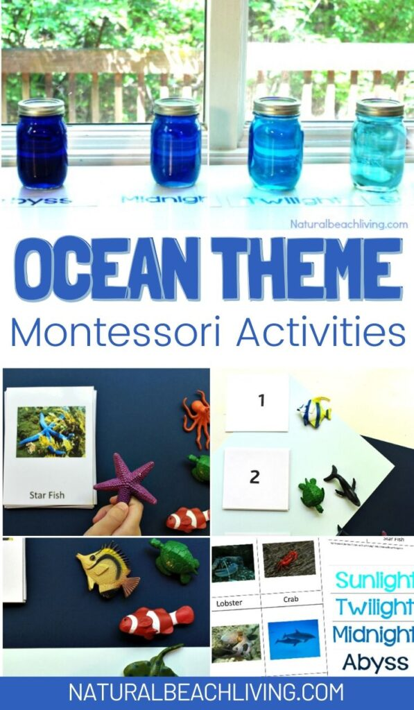 These free ocean printables and Montessori ocean activities are for preschoolers through early elementary. Perfect for homeschooling or for an ocean preschool theme The Best way to learn Ocean Zones, Montessori Math and Under the Sea preschool theme activities
