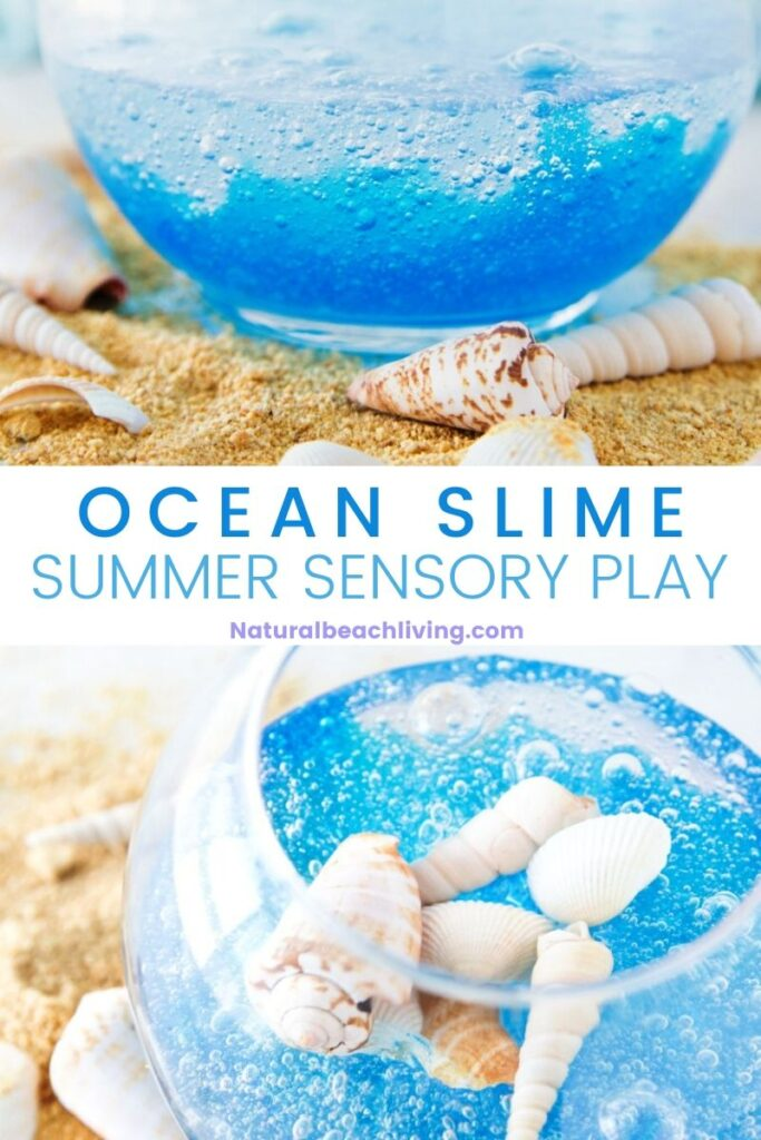 Learn how to make DIY ocean slime for kids with this easy and fun recipe and video tutorial. It's easy to make from clear glue and a clear slime recipe. It's a fun sensory play idea for kids!