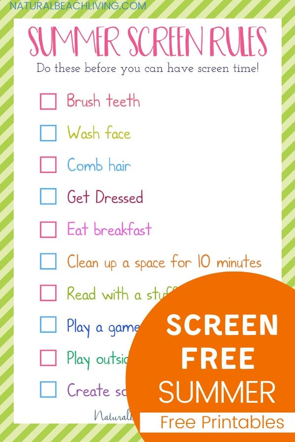 The Perfect Summer Rules for Kids, Grab this free Summer Screen Free Schedule for kids. These Parenting ideas for a screen free summer and summer activities for kids keep them creating, learning, and keeping up with chores before spending hours on the screen.