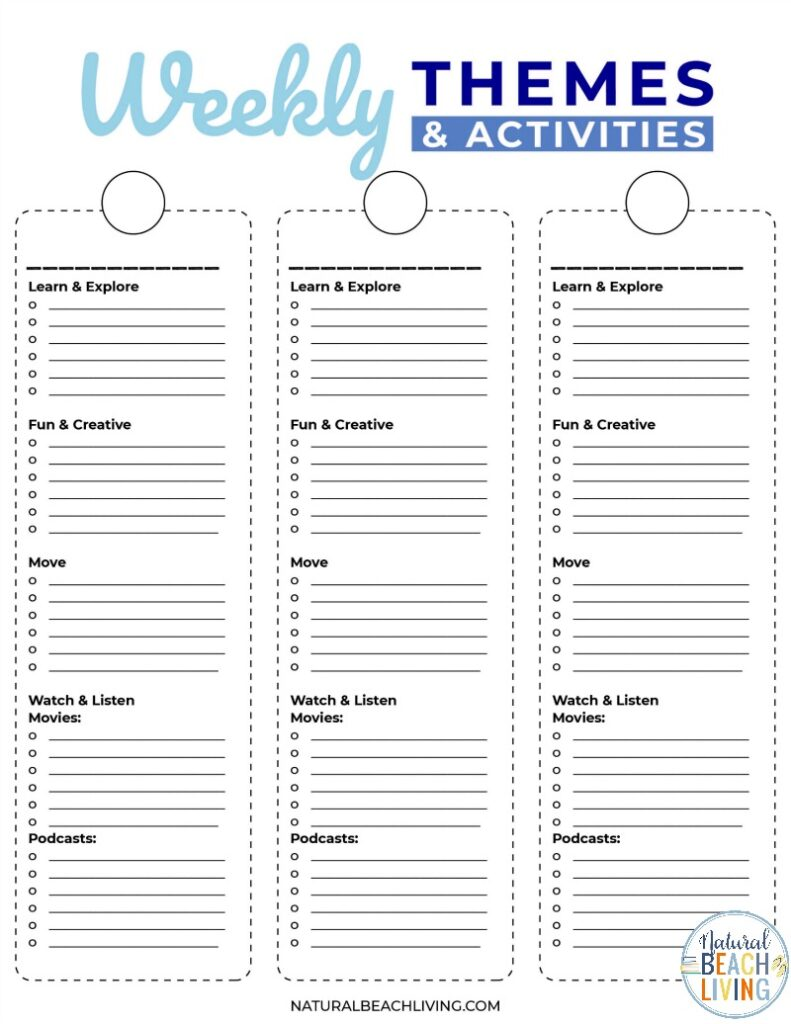 Summer Camp at home Planner Printables for Free! It's the perfect way to plan your fun summer activities with a Summer Camp Theme Guide full of ideas that the kids are going to love! 9 Weeks of DIY Summer Camp to keep kids entertained all summer long.