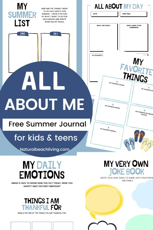This All About Me Summer Journal is one of the favorite Free Summer Printable Activities! Not only is it fun summer writing for kids, but it's also a great way to keep them active and engaged. It includes great hands on activities, a Thankful list, all about me drawing, journal pages, emotions and feelings activities and so much more.