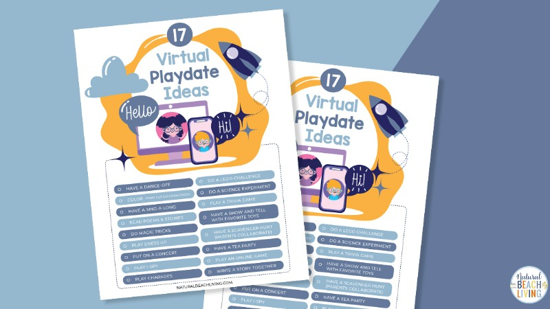 Check out these awesome Virtual Playdate Ideas! The kids will love being able to hang out with friends even if they have to stay home. Grab this Free Printable and over 20 Virtual Playdate Ideas to Reconnect Kids with friends and family.