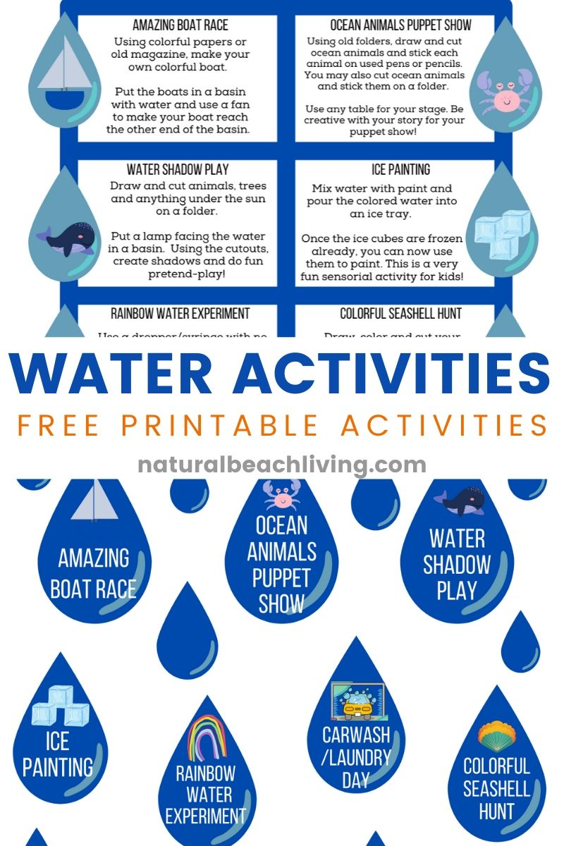 Water Activities for Kids with Free Water Themed Printables