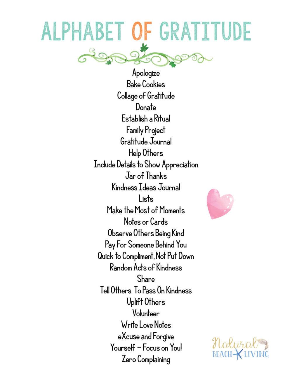Alphabet Gratitude List To Help Practice Daily Gratitude Natural Beach Living