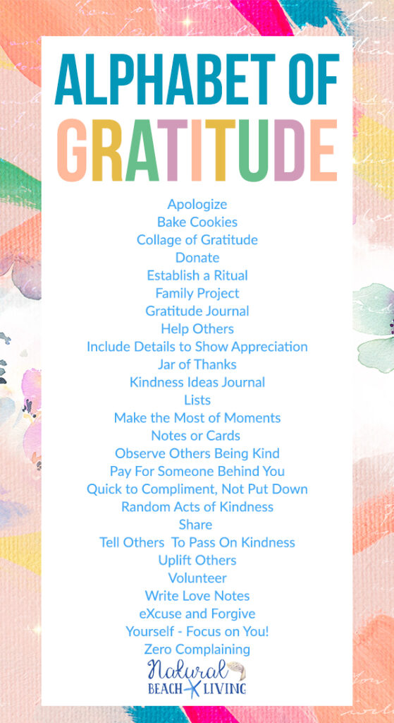 You'll find everything you need here for Practicing Gratitude, An Alphabet Gratitude List is a great idea for your family, for yourself, or for your kids to make each day happy and focus on positive thoughts. Print out a Free A- Z Gratitude List or Gratitude Scavenger Hunt today.