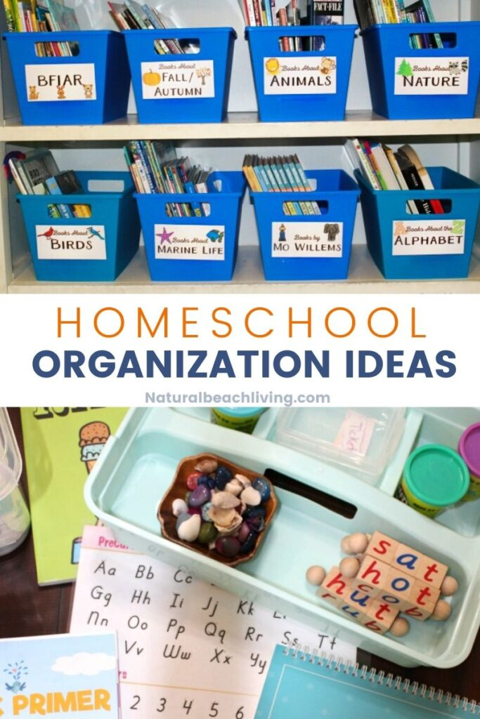 Homeschool Organization Ideas with Homeschool Rooms, and ways to Organize Small Spaces for homeschooling. Find The Best Minimalistic Homeschool Ideas, homeschool tips, and ideas for organizing all things to homeschool successfully.