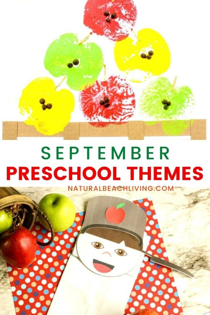 September Preschool Themes. A preschool or kindergarten theme you can focus on in the fall. APPLES Theme and Activities, Preschool Themes and September Themes offer so many opportunities for exploration and learning. 20+ Preschool Activities for Camping, Honey, Bees, Fall, Music, Teddy Bear Theme and so many more.