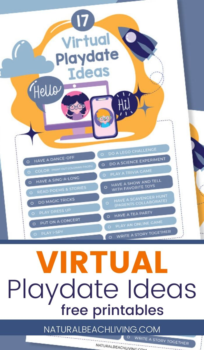 20 Virtual Playdate Ideas to Do at Home with Free Printables