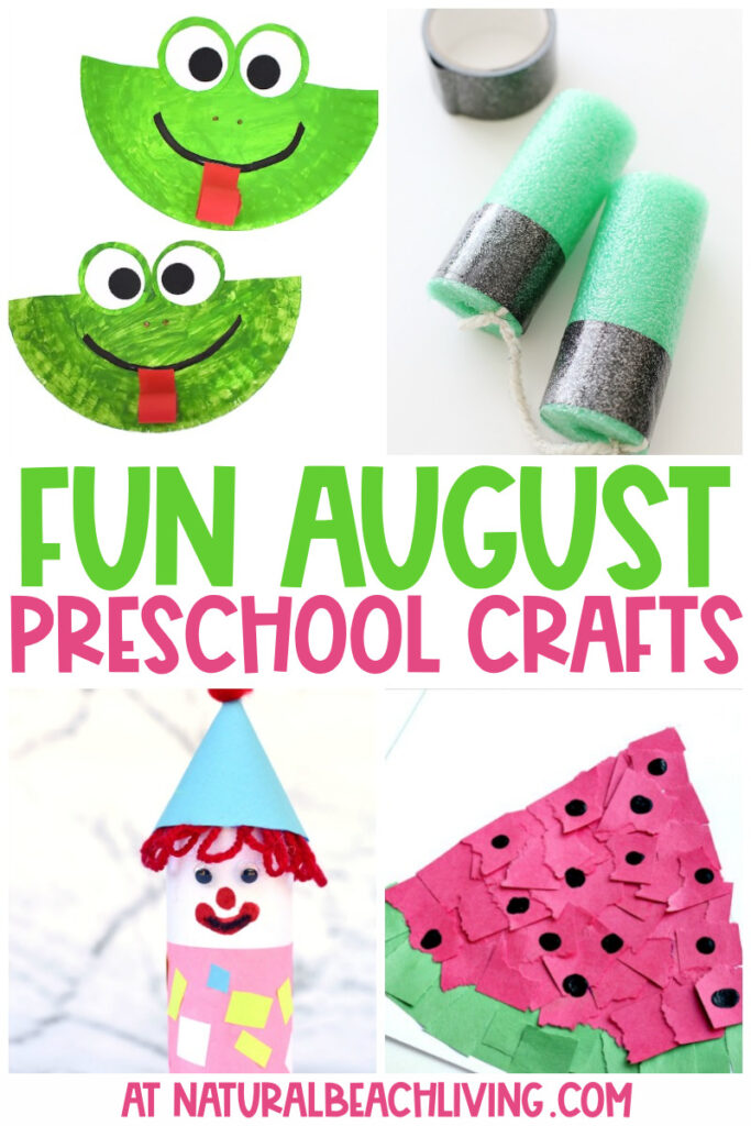 40 August Preschool Crafts From pencil crafts for back to school season or lots of fun insect crafts, boats, sand playdough, and seashells crafts, you'll find the Best August Arts and Crafts Activities for Kids and Summer Crafts for Preschoolers