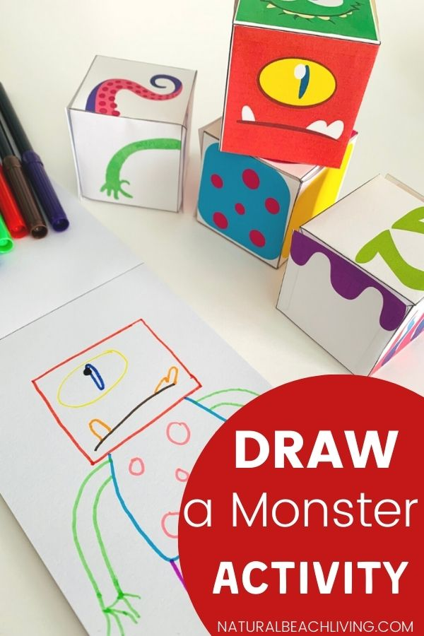 This Monster Drawing Activity is SO MUCH FUN. Here you'll find lots of great monster theme activities for planning your kindergarten or preschool monster theme. Including monster printables, monster crafts, art, literacy, books and more. Grab your FREE Monster Drawing Printables Here