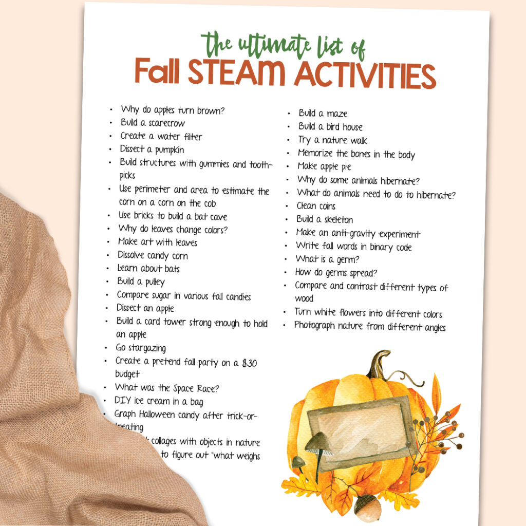 Kids LOVE these Hands on Fall STEAM Activities. Science, Technology, Engineering, Math, and Art Activities for Preschool, Kindergarten, and Early Elementary Kids. Free Printable and over 30 FALL STEM ACTIVITIES FOR KIDS