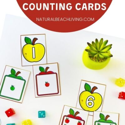Preschool Apple Themed Math and Free Printable Apple Counting Cards