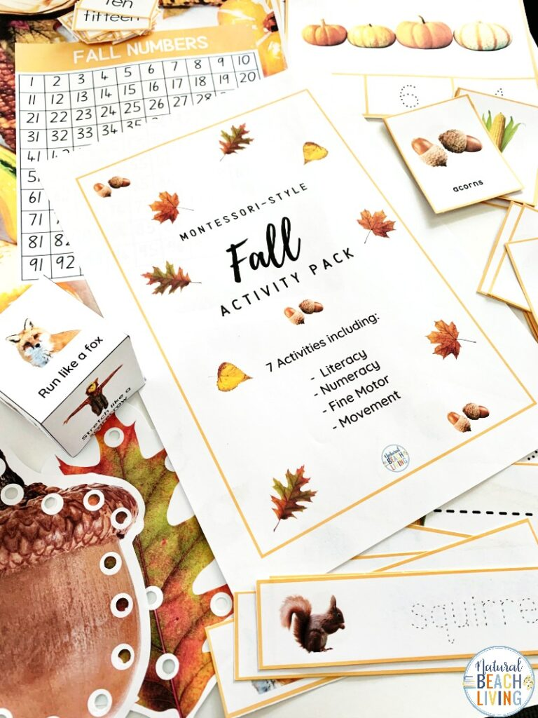 Adding these Fall Montessori Activities to your day will bring hands on learning with a fall theme. Perfect for toddlers, preschoolers, kindergarten and early elementary. With literacy activities, fine motor activities, number recognition, preschool and kindergarten math activities, and so much more. Also includes Movement Activities, Montessori Preschool Activities