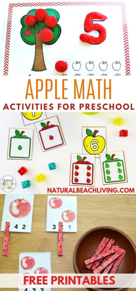 You'll Love These Preschool Apple Themed Math Activities and Free Printable Apple Counting Cards for Fall. Math Activities for Preschool and kindergarten with Apple Books for Kids and Math Toys for hands on learning. Fall Preschool Activities are the best!