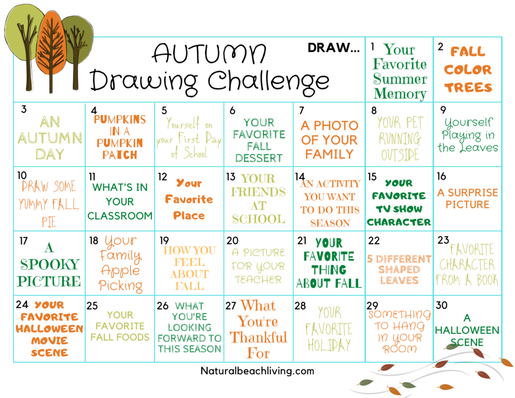 Get creative with your kids this season with this Free Fall Drawing Challenge, it's a 30 day drawing challenge for beginners that will have you drawing Pumpkins, Halloween Theme, Thankful Ideas, and there are many more Fall Drawing Prompts for Kids.