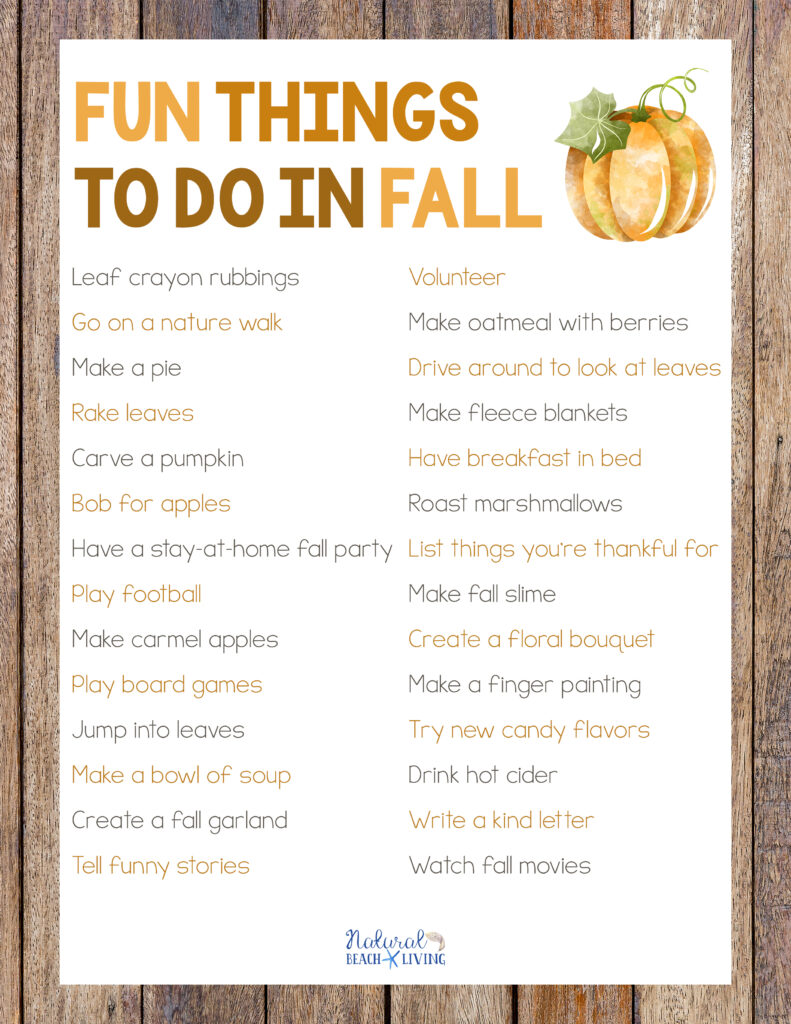 30+ Fun Things to do in Fall, including fall preschool ideas, fun fall activities for the whole family, Fun things to do at home, fall bucket list ideas, fall games, fall slime, harvest activities and so much more. Plus grab a free fall printable of all the activities.