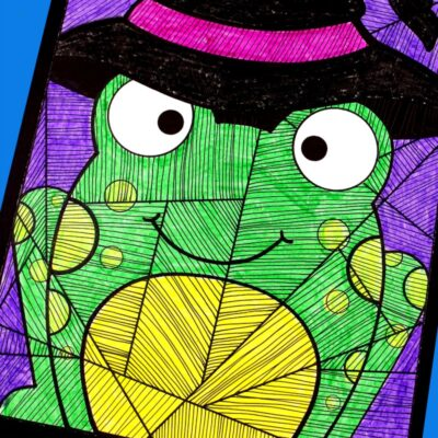 Halloween Art for Kids with Free Witch Frog Template
