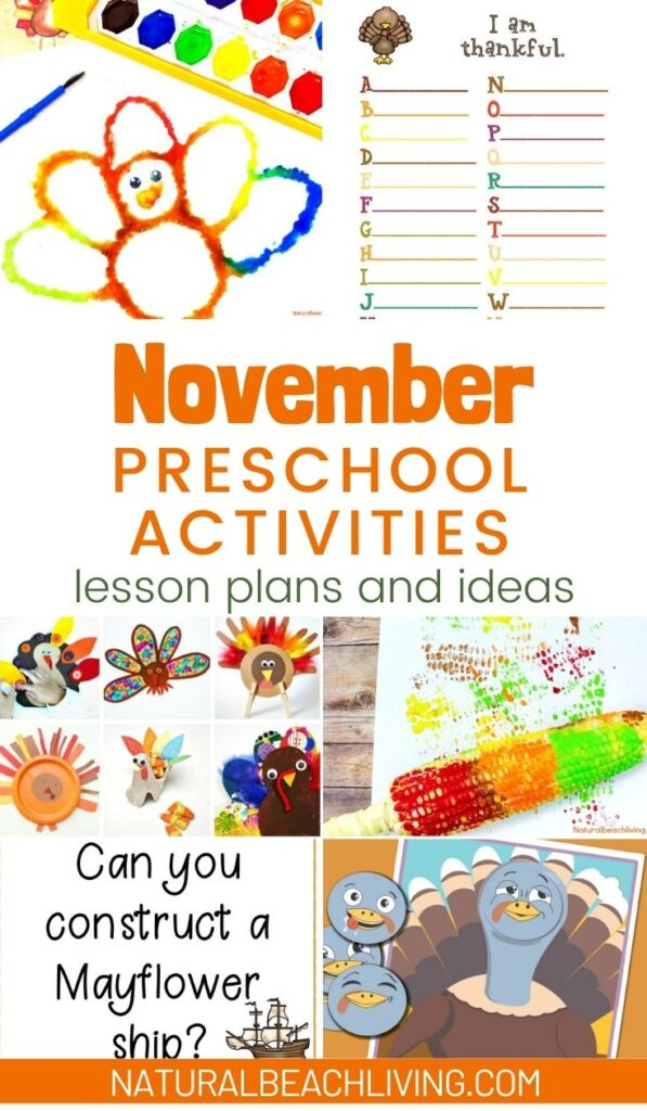20 November Preschool Themes with Lesson Plans and Activities, The Thanksgiving holiday is a full of fun ideas to embrace the season, family, culture, and food with kids. Find Preschool hands on activities to do this fall, with a mix of great Preschool activities for Thanksgiving, Turkey crafts, Thankful printables and crafts, Cinnamon playdough, Fall Themes, Thanksgiving Books, Veterans Day, and more
