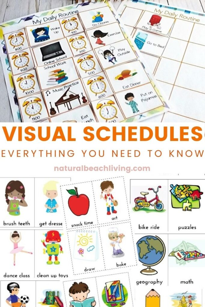 Visual Schedules for Kids with Autism, A visual schedule can be extremely beneficial for children with autism, and a variety of other disabilities. Learn Why Visual Schedules are important for autism, the benefits of visual schedules, and How to Use a Visual Schedule with your kids at home and in a classroom. Plus, lot's of Great Visual Schedules