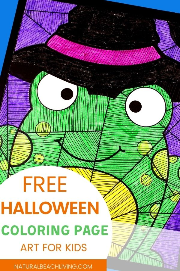 Halloween Art for Kids with Free Witch Frog Template, This Halloween Art Project for Kids can be spooky and cute Halloween art idea that makes perfect Halloween decor. Drawing Challenges and Witches and Frogs Coloring Pages for Halloween #Halloween #HalloweenArt #KidsArt #ArtForKids #HalloweenFun