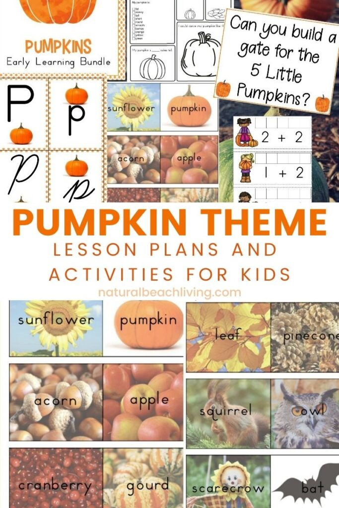 The Best Kindergarten and Preschool Pumpkin Theme Activities and Lesson Plans, Perfect Preschool Activities for fall with hands on learning activities, Fall Preschool Themes with Preschool STEM, Language activities, fall Sensory play, fine motor skills activities, Reggio, Montessori and more.