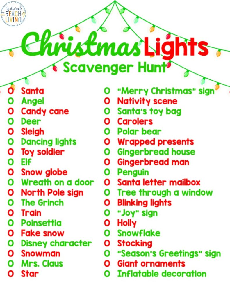 Have Fun Spending time with your family with this Christmas Lights Scavenger Hunt, enjoying a fun evening with this Christmas scavenger hunt will keep you making memories and enjoying the holiday season. This Free Printable Christmas Lights Scavenger Hunt is perfect for kids and adults of all ages.