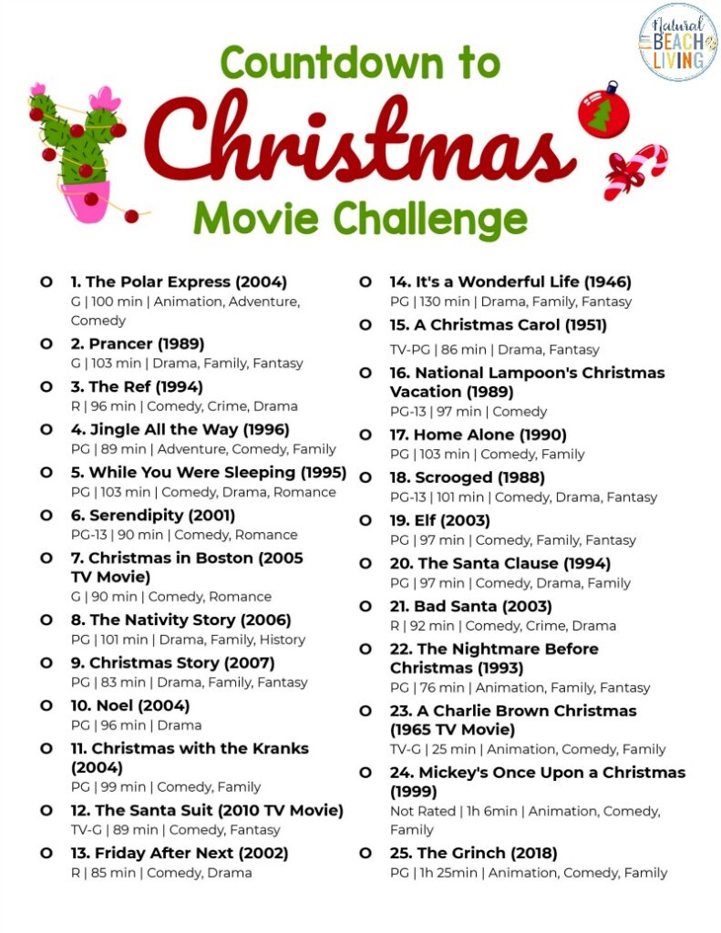 25 Day Christmas Movie Challenge, I Love Challenges and Christmas Movies are The Best so why not put the two things together this year for a 25 Day Countdown to Christmas Movie Challenge, They will bring comfort and cheer all month long. Grab this Free Christmas movies list challenge here
